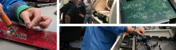 Advanced Assembly employees in different stages of assembling a pcb