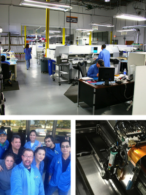 images of staff, machinery, and assembly floor