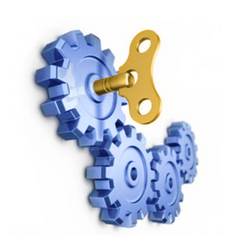 blue cogs with gold key