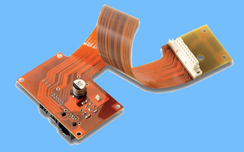 flexible circuit board on blue background