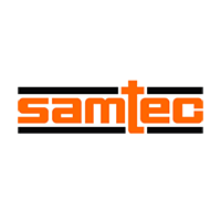 samtec logo, orange text with black outline