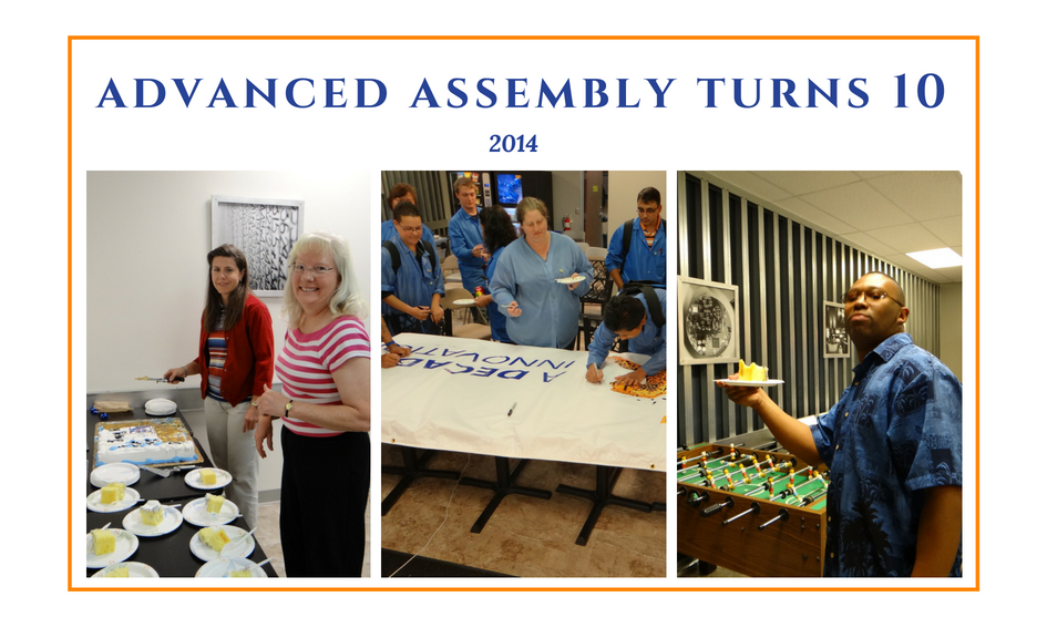 Advanced Assembly employees eating cake and celebrating