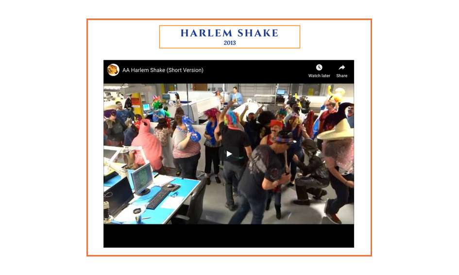 advanced assembly employees doing the harlem shake, 2013
